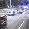 Pijany kierowca dachował w centrum miasta, FILM