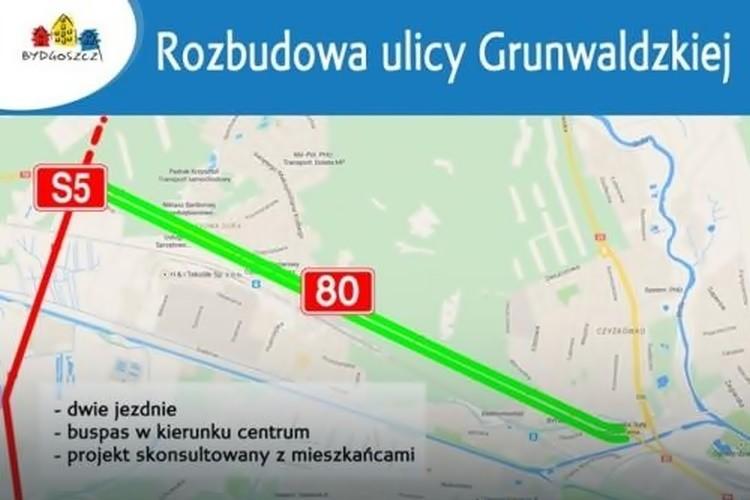 Bydgoszcz pozyskała 113 mln zł unijnego dofinansowania na rozbudowę ul. Grunwaldzkiej