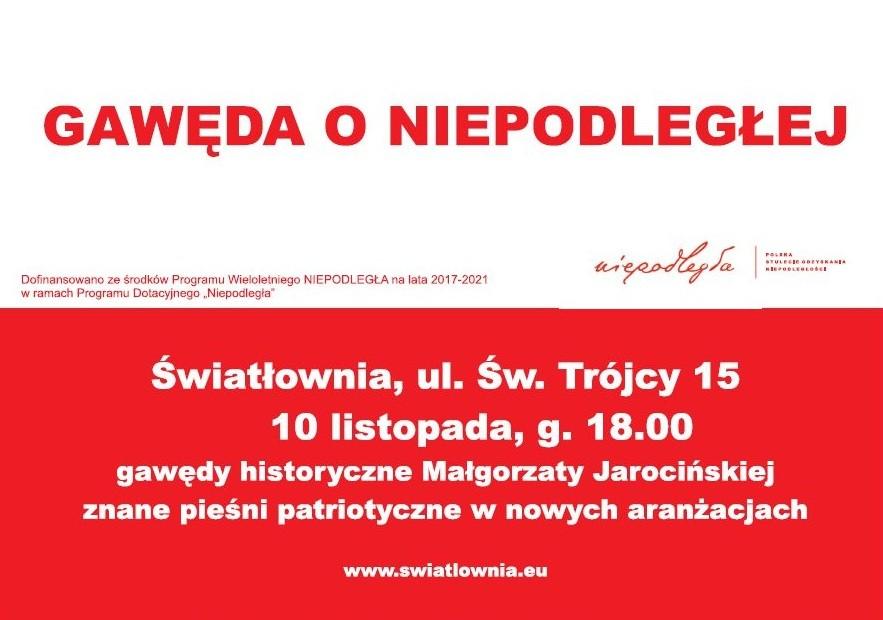 """""""Gawęda o Niepodległej"""" w Światłowni"""