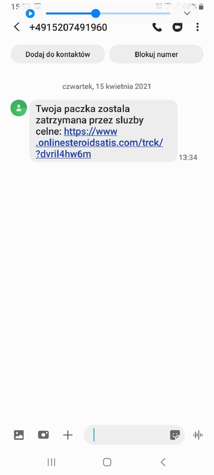 KPP Nakło: Uwaga na smsy zawierające informacje o zatrzymaniu paczki!