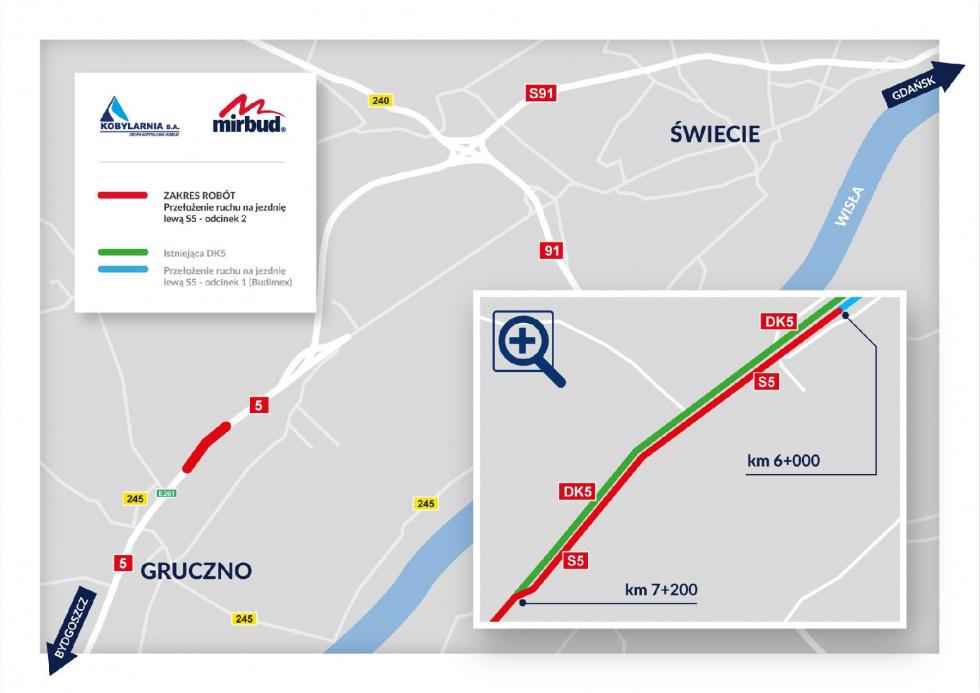 Zmiana organizacji ruchu na S5 w okolicach Gruczna