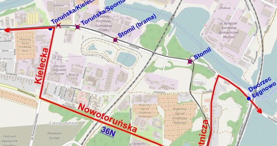 Zmiana trasy linii nocnej nr 36